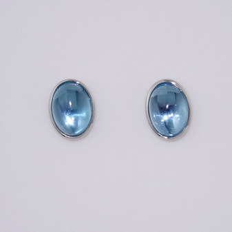 9ct white gold cabochon blue topaz earrings