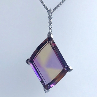 9ct white gold ametrine and diamond pendant