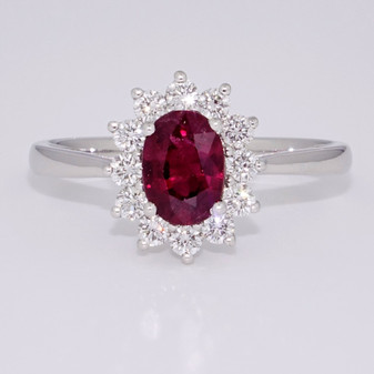 18ct white gold ruby and diamond cluster ring