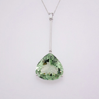 9ct white gold prasiolite and diamond necklace PE4639