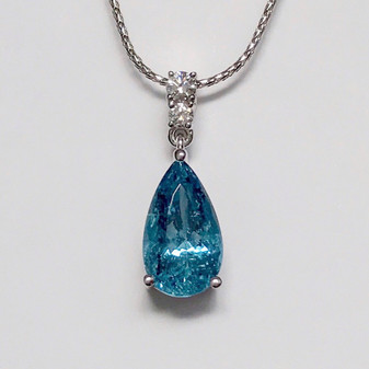 18ct white gold deep blue aquamarine and diamond necklace