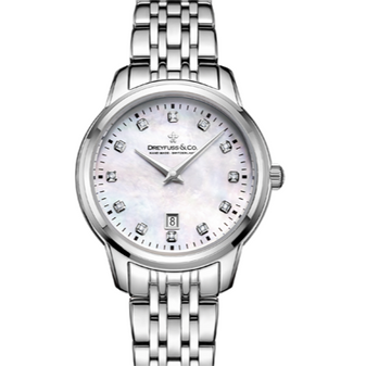 Ladies stainless steel Dreyfuss & Co quartz watch with diamonds DLB00125/41/d