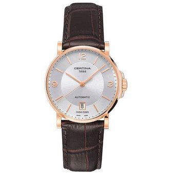 Gents' rose gold colour Certina DS Caimano automatic watch on leather strap C017.407.36.037.00