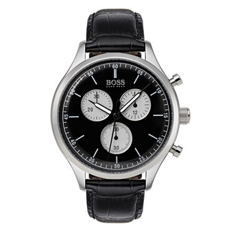 Gents' stainless steel quartz Boss chronograph watch on leather strap 1513543