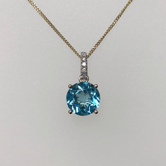 9ct gold blue topaz and diamond necklace