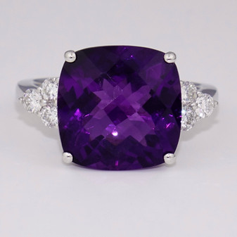 18ct white gold fancy cushion cut amethyst and diamond ring