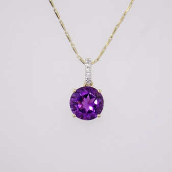 9ct gold amethyst and diamond necklace PE5273
