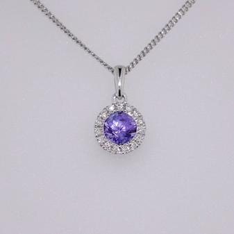 9ct white gold tanzanite and diamond necklace