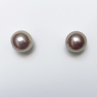 18ct white gold purplish pearl stud earrings