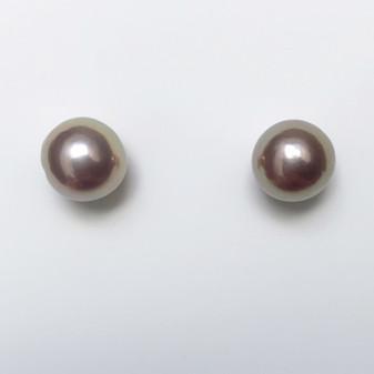 18ct white gold purplish pearl stud earrings