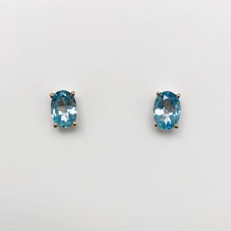 9ct gold blue topaz earrings