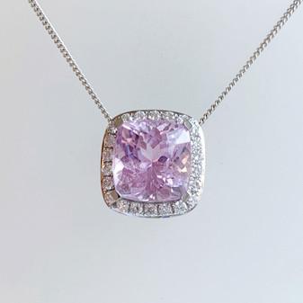 9ct white gold kunzite and diamond pendant.