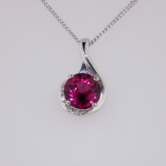9ct white gold raspberry garnet and diamond necklace