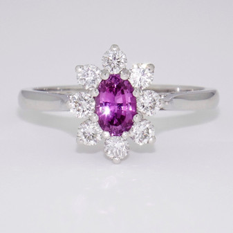 Platinum pink sapphire and diamond cluster ring