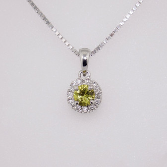 9ct white gold mali garnet and diamond pendant PE5095