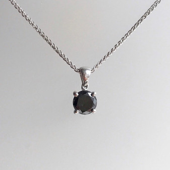 18ct white gold black diamond solitaire pendant