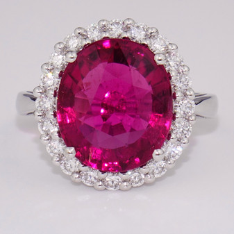 18ct white gold pink tourmaline and diamond cluster ring