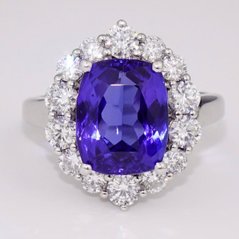 18ct white gold cushion cut tanzanite and diamond cluster ring