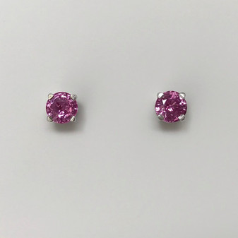 18ct white gold pink sapphire solitaire stud earrings
