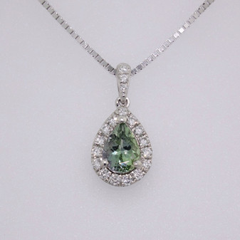 9ct white gold green tanzanite and diamond pendant