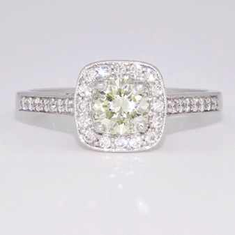 18ct white gold fancy light greenish yellow diamond cluster ring