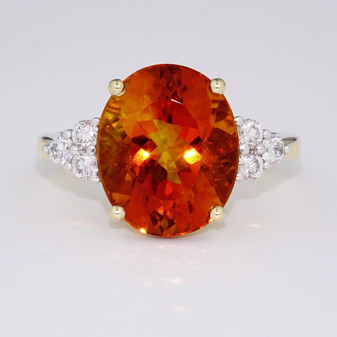 9ct gold citrine and diamond ring GR5336