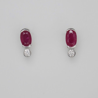 9ct white gold ruby and diamond stud earrings
