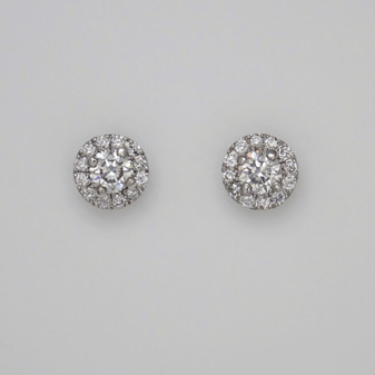9ct white gold diamond halo earrings