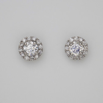 9ct white gold diamond halo stud earrings