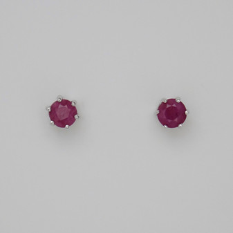 9ct white gold round cut ruby solitaire stud earrings