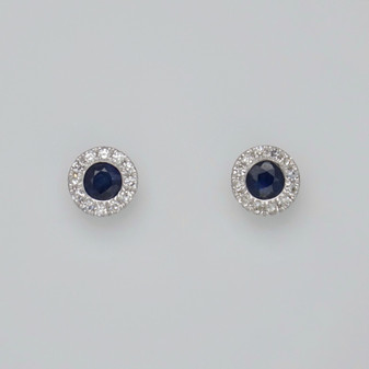 9ct white gold sapphire and diamond cluster stud earrings