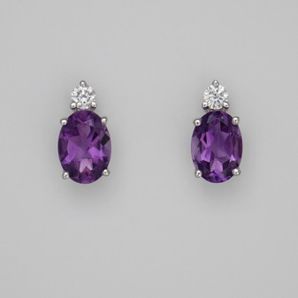9ct white gold amethyst and diamond earrings