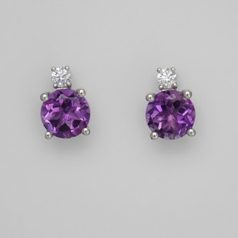 9ct white gold round cut amethyst and diamond earrings