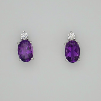 9ct white gold oval cut amethyst and round brilliant cut diamond stud earrings