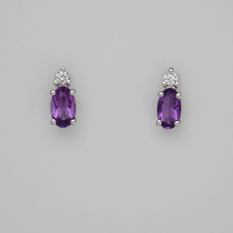 9ct white gold amethyst and diamond stud earrings