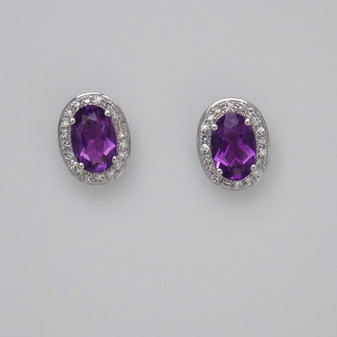 9ct white gold oval cut amethyst and diamond cluster stud earrings