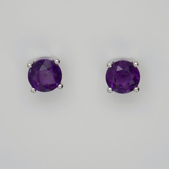 9ct white gold amethyst stud earrings.