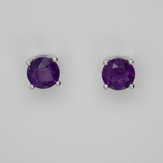 9ct white gold amethyst stud earrings.
