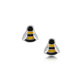 Sheila Fleet sterling silver Bumblebee stud earrings with Honey enamel EE0273