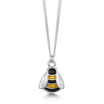 Sheila Fleet sterling silver Bumblebee pendant with Honey enamel EP273