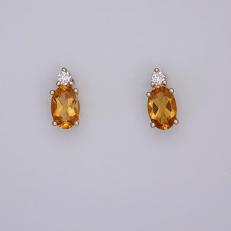 9ct gold citrine and diamond stud earrings