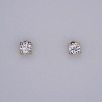9ct gold round brilliant cut diamond solitaire stud earrings