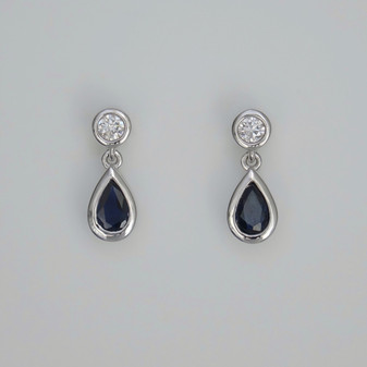 9ct white gold pear cut sapphire and round brilliant cut diamond drop earrings