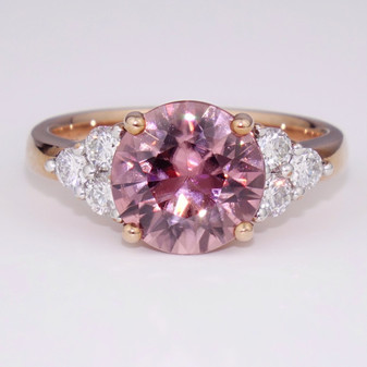 Pink zircon and diamond ring