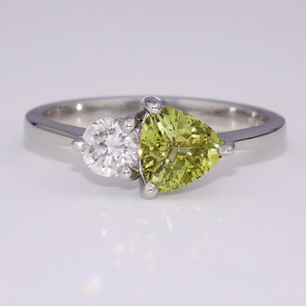 Platinum chrysoberyl and diamond ring