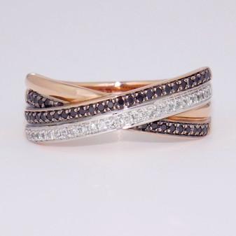 9ct rose gold black diamond and white diamond ring.