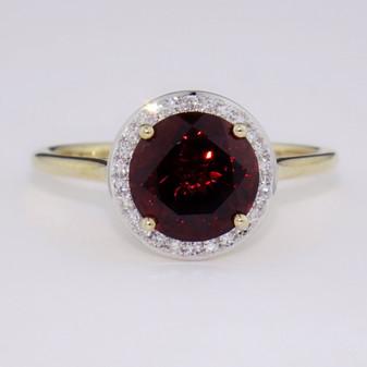9ct gold garnet and diamond halo ring