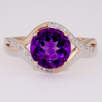 9ct rose gold amethyst and diamond ring.