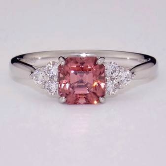 Platinum pink zircon and diamond ring