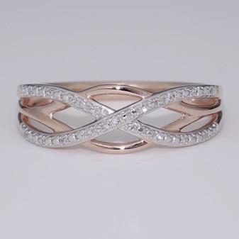 9ct rose gold celtic weave diamond ring